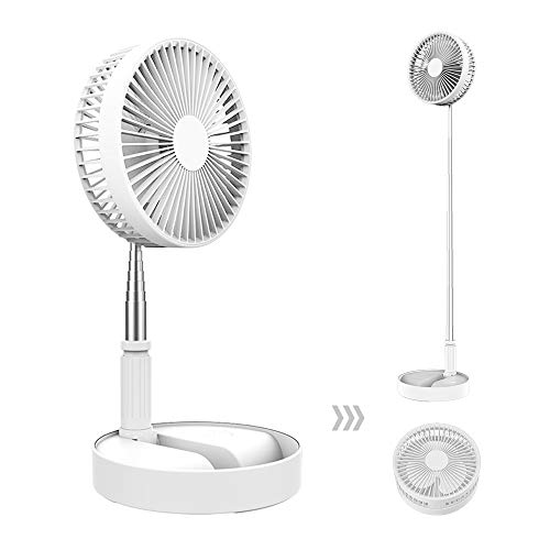 BETMONE Desk and table Electric fans, Air Circulator Fan Portable Travel Mini Fans Battery Operated or USB Powered,Adjustable Height from 14.2 inch to 3.3ft as Pedestal stand floor Fan, 4 Speed Settings (White)
