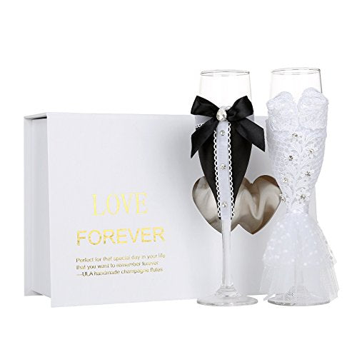 Personalized Wedding Dress Wine Glasses