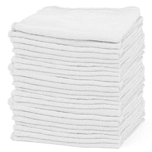 Royamaroo Shop Towels – Pack of 50 Reusable Cleaning Rags – Durable Quality Cotton Towel– Soft and Smooth – Super Absorbent Shop Rags 13