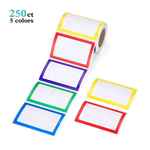Mionno 5 Colors Adhesive Name Tag Labels, 250pc 3.5