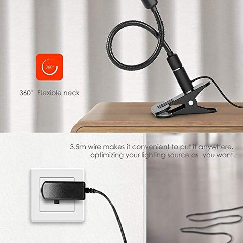 BETMONE Clip on Lamp Reading Light LED Desk Clamp Lamp (AC Adapter Included) 3 Brightness Book Night Light, 360°Flexible Neck Touch Control Eye-Care Perfect for Desk Computer and Bed Headboard Plug in