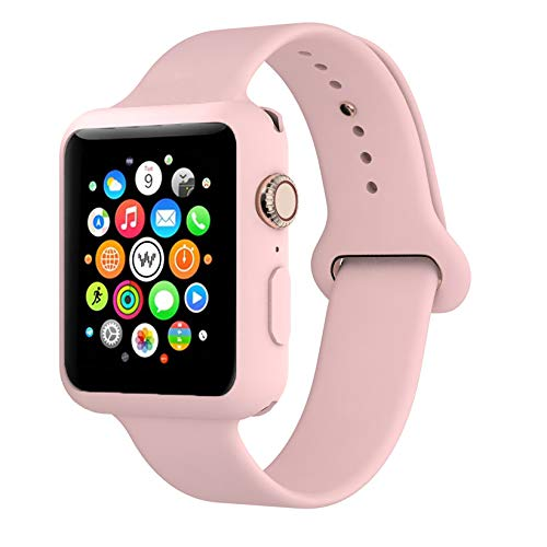 Soft Silicone Replacement Watch Band - Adjustable Wristband Watchband Wrist Straps Sport Band with Case Cover, 38mm 40mm 42mm 44mm, Compatible with Apple Watch Series 1/2/3/4/5, Vintage Rose, 38mm S/M