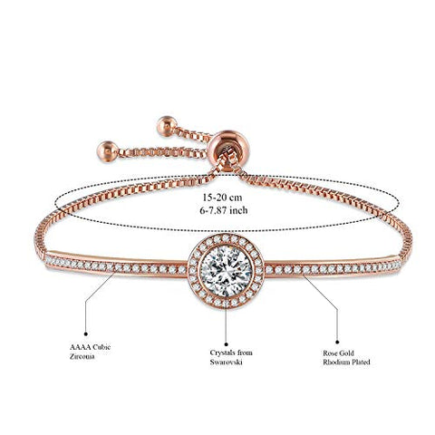 "ROSIE OLIVE Birthday Gifts""Endless Saturn"" Adjustable Women Rose Gold Bangle Jewelry Bracelet Crystals from ROSIE OLIVE for Girlfriend Wife Mom -a Luxury Gift Box Included (Rose gold bracelet)"