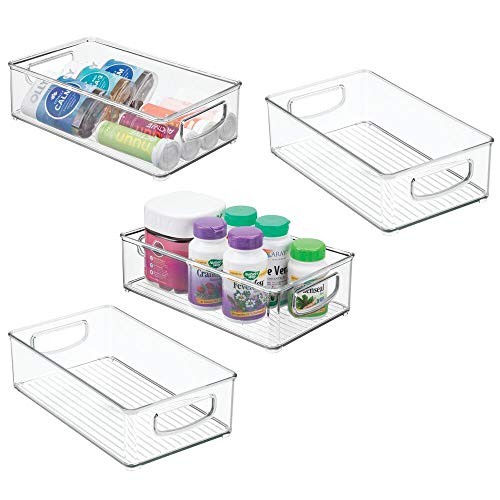 "KiroloveSeeU Stackable Plastic Storage Organizer Container Bin with Handles for Bathroom domestic use - Holds Vitamins, Essential Oils, Medical Supplies, First Aid Supplies - 3"" High, 4 Pack - Clear"