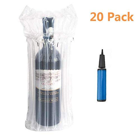 OZISI 20 Pack Wine Bottle Bubble Protector Bags With Pump Reusable Sleeve Travel Inflatable Air Column Cushion Packing and Safe Transportation of Glass Bottles