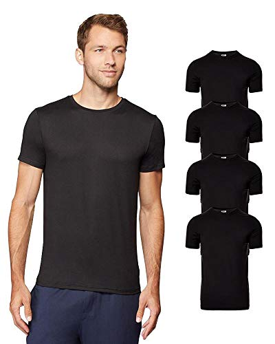 JOEEOS Mens 4 Pack Cool Quick Dry Active Basic Crew T-Shirt, Black, X-Large