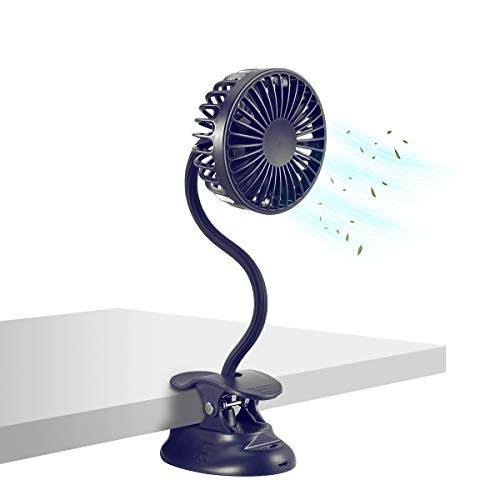 BETMONE Clip on Fan Usb Fan mini Fan ortable electric fans Battery Operated Desk Fan with Emergency Power Bank, USB Clip Fan Rechargeable Personal Fan Flexible Neck 3 Speeds Great for Beach Car Camping Dorm Bed Office-Navy Blue