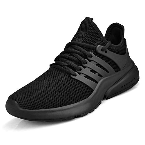 Gelteo Women's Running Shoes Lightweight Non Slip Breathable Mesh Sneakers Sports Athletic Walking Work Shoes Black 6 M