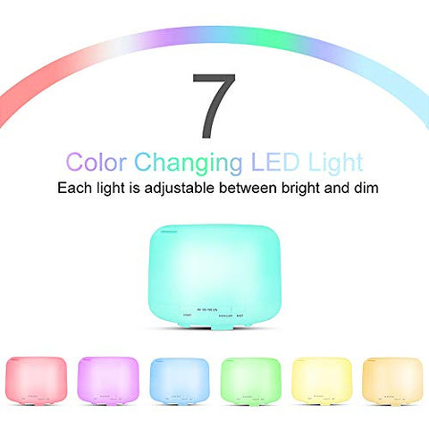 LOVESUN Remote Control 500ml Ultrasonics Air Humidifier Aroma Oil Diffuser with 7 Color LEDs Night Light Household Electric Aromatherapy for Office Home Spa Yoga Relax