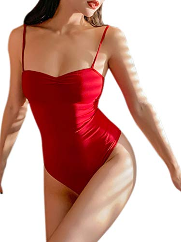 Maggie Tang Womens Adjustable Spaghetti Strap Camisole Bodysuits Jumpsuits Red