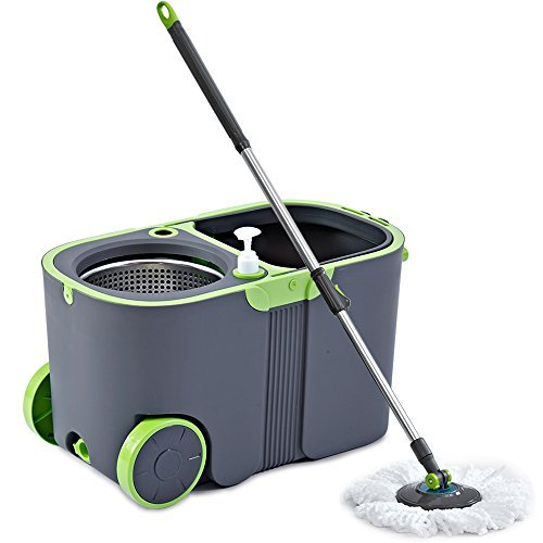 Stainless Steel Deluxe Rolling Microfiber Spin Mop & Bucket