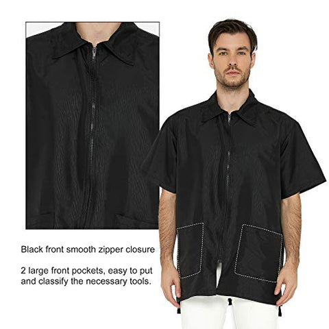 JUNEHUITON Barber Jacket for Men, Hair Stylist Grooming Smock Vest Shirt, Black, Large Size