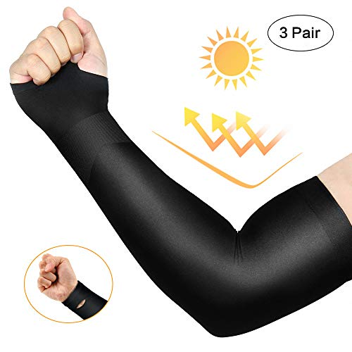 3 Pairs Long Cooling Arm Sleeves UV Sun Protection Men Woman Kids