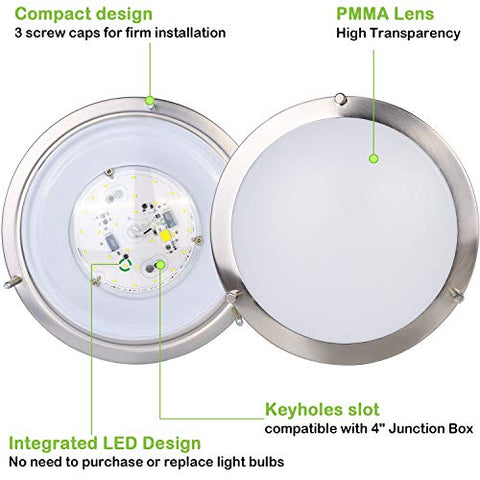 Tetetata 10 inch Flush Mount LED Ceiling Light Fixture, 17W[120W Equivalent] 1100lm CRI 90+, 3000K/4000K/5000K Adjustable, BN Finish Saturn Dimmable Ceiling Lamps, ETL for Hallway, Bathroom or Kitchen