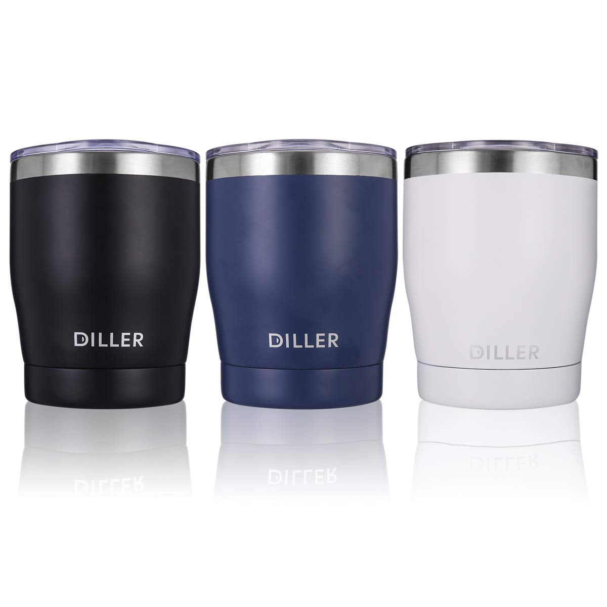 Diller Stainless Steel Tumbler with Lid, 10 oz Double Wall Vacuum Insulated Travel Mug Thermos Gift for Women and Men for Office Outdoors Keep 6H Hot & 12H Cold (Black)