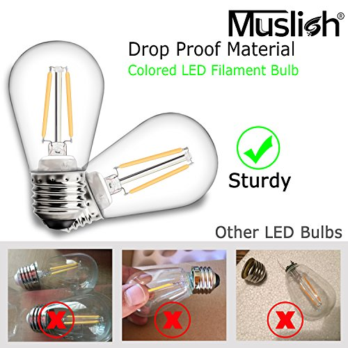 Colored LED Filament Bulb Dimmable for Party Events Decoration 6 Pack
