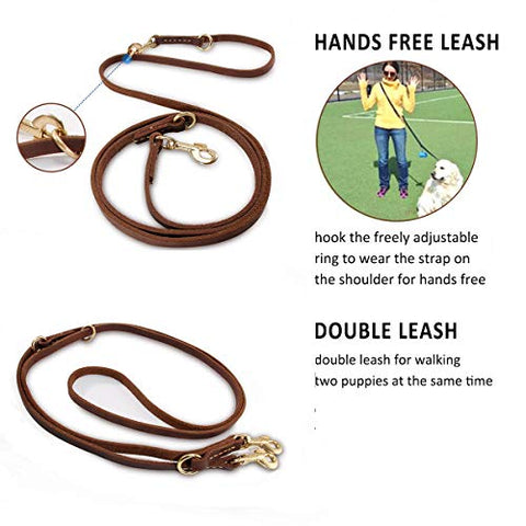 Matchy2u Durable Multi Function 8ft Dog Leash, Genuine Leather Leash Hands Free Leash Dog Training Leash for Small, Medium and Dogs