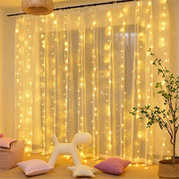 Tetetata 304 LED Curtain String Lights, 9.8 x 9.8 ft, 8 Modes Plug in Fairy String Light with Remote Control, Christmas, Backdrop for Indoor Outdoor Bedroom Window Wedding Party Decoration, Warm White