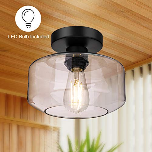 Semi Flush Mount Ceiling Light, Farmhouse Light Fixture with Clear Glass Lamp Shade, Ceiling Light Fixture for Bedroom Hallway Dining Room Bathroom Corridor Passway, E26 Based LED Bulb Included