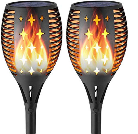 LOVESUN 2PCS Solar Garden Torch Lights Bright Pathway Outdoor Garden Stake, Waterproof Flickering Flames Solar Spotlights Landscape Decoration Lighting Auto On/Off Security Torch Light for Patio Driveway