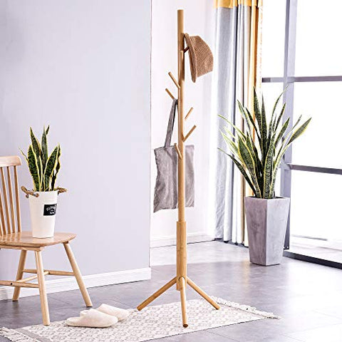 Housmat Bamboo Free Standing Coat Rack Stand, Adjustable Coat Tree with 3 Sections & 8 Hooks, Easy to Assemble Coat Hanger Stand for Bedroom, Office, Hallway, Entryway, Bedroom, Natural