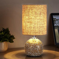 Table Lamp Nightstand Lamp Mosaic Bedroom Night Lamp with Drum Shade