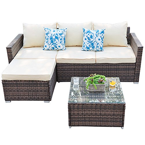 Patio Furniture Sectional Sofa Set - 3 Piece Outdoor Conversation Set