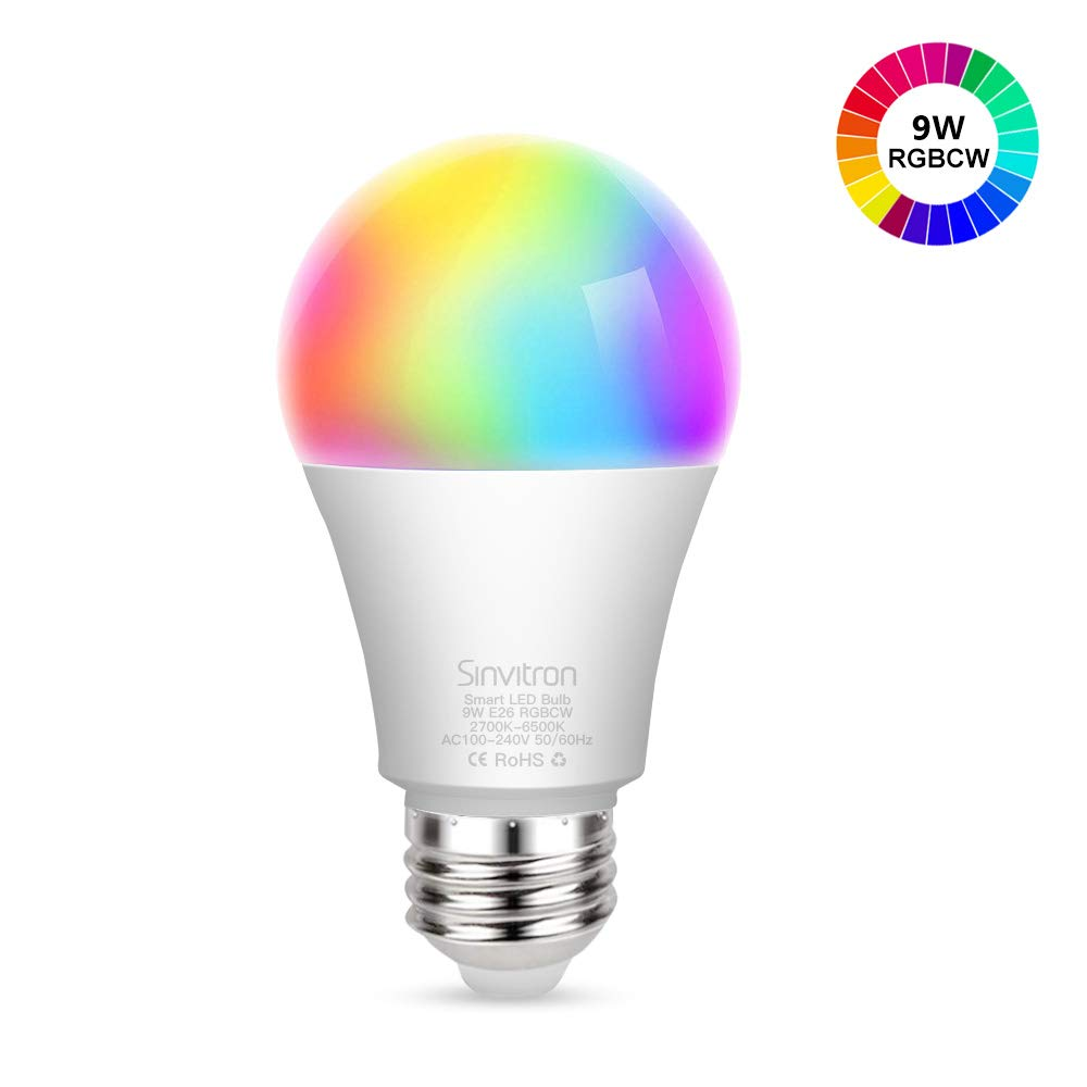 Sinvitron Led Wifi Smart Light Bulb, E26 9W Dimmable Smart Wifi Light Bulb Compatible with Alexa Google Home and IFTTT, No Hub Required, 820lm, RGBCW Multi-color Changing,A19 60W Equivalent (1 Pack)