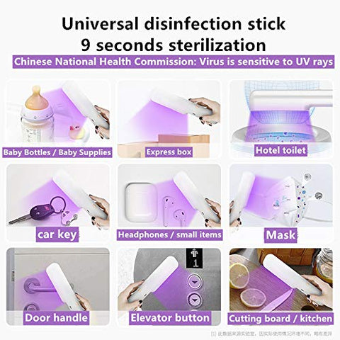 LOVESUN UV light sanitizer Portable UV Sterilizer Handheld UV Wand UV-C Disinfection Lamp for Household Wardrobe Toilet Car Kitchen Toys Pet Area 99.9% Sterilization Rate (White)