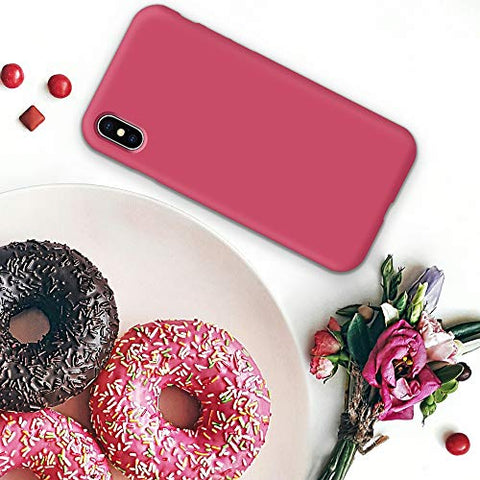 Naciey Silicone Case for iPhone X iPhone Xs Case, Soft Liquid Silicone Shockproof Phone Case (with Microfiber Lining) Compatible with iPhone Xs (2018)/ iPhone X (2017) 5.8 inches (Hibiscus)
