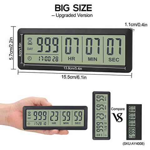 Comluck Digital Countdown Days Timer  Big 999 Days Count Down Clock for Vacation Retirement Wedding