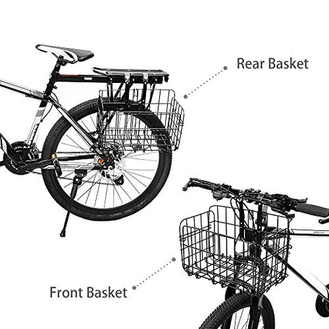 ZRVATO Folding Rear Bike Basket - Wire Mesh Detachable Front Bag, Handlebar Basket Rear Hanging Bicycle Bag Cargo Rack for Mountain Bike Accessories Storage Frame 1 Pack Gift for Father's Day