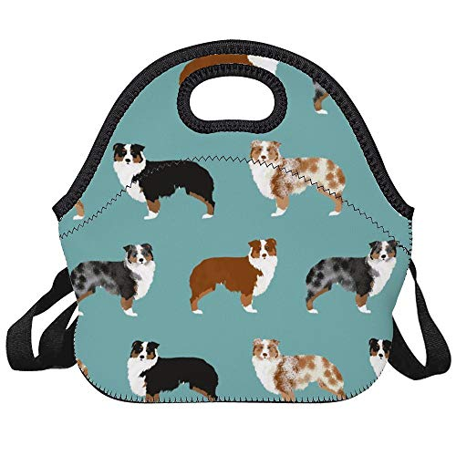 FOOEN Neoprene Australian Shepherds Dogs Lunch Bag Insulated Lunch Backpack Lunchbox Handbag with Adjustable Shoulder Strap Best Gift for Men Women Teen Boys Girls