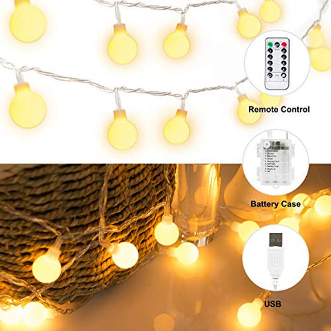 BETMONE 33 FT 100 LED Globe Ball String Lights, Fairy String Lights with USB Plug & Battery Case, 8 Modes with Remote, Decor for Indoor Outdoor Party Wedding Christmas Tree Garden, Warm White