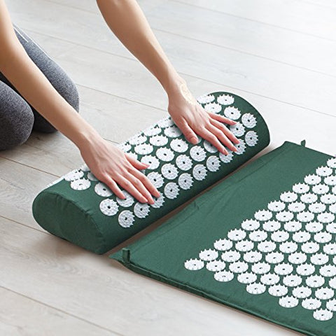 Navoroge Sivan Back and Neck Pain Relief Acupressure Mat and Pillow Set, Chronic Back Pain Treatment - Relieves Your Stress of Lower Upper Back and Sciatic Pain - Green