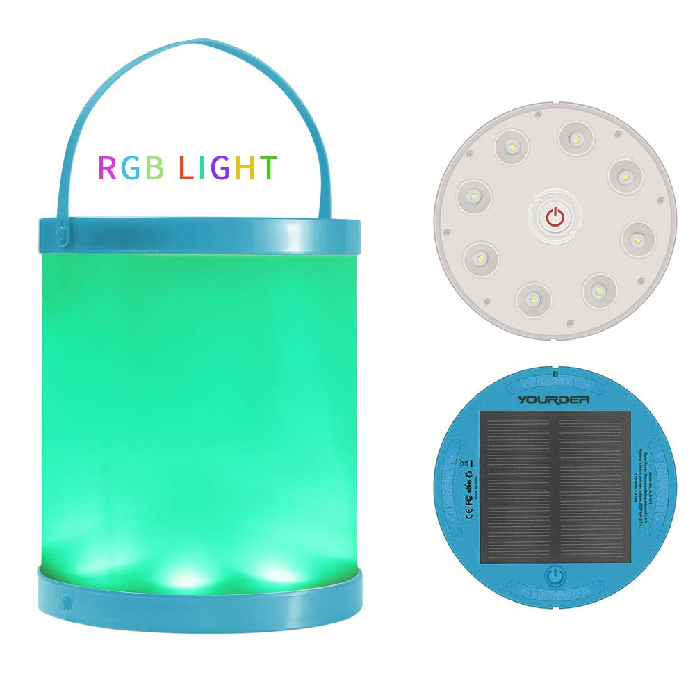 Solar Powered Lantern with Magnet USB Port Charge Waterproof Emergency Lamp