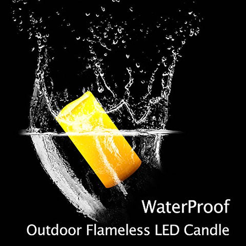 BETMONE 2 Waterproof Outdoor Battery Operated Flameless LED Pillar Candles with Timer Flickering Plastic Resin Electric Decorative Light for Lantern Patio Garden Home Decor Party Wedding Decoration 3x6 Inches