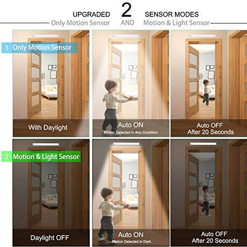 LOVESUN Upgraded 78 LED Closet Light, Rechargeable Dimmable Motion Sensor Closet Light Wireless Under Cabinet Night Light with Large Battery Life 3200mAh for Cabinet,Wardrobe,Kitchen,Hallway (2 Sensor Modes)