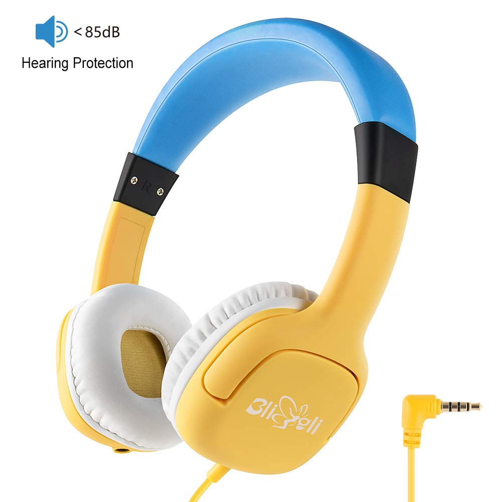 Kids Headphone with 85dB Volume Limited Hearing Protection, Music Sharing Function, Bligli Wired On-Ear Headsets for Children Youngster (Yellow-Blue)