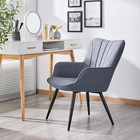 EASCOMPHER Ergonomic Accent Chair Armchair Living Room Chair Upholstered Side Chair Leisures Chairs Curved Wing Back Chair Metal Legs Linen Fabric Chair Gray