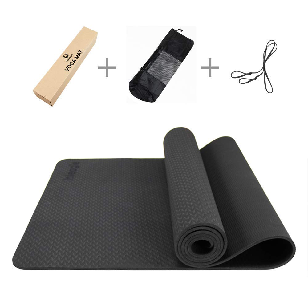 TPE Yoga Mat Non-Slip Anti-Tear Durable Reversible with Carrying Strap