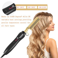 Hot Comb Hair Straightener -INSTKEE Electric Straightening Comb for African American Hair and Wigs,Portable Travel Anti-Scald Beard Straightener Press Comb