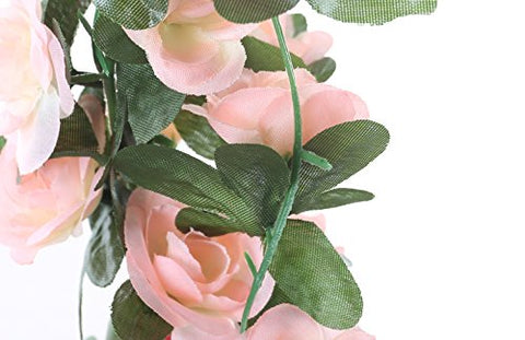 Wzhhyy 5 Pack 41 FT Fake Rose Vine Flowers Plants Artificial Flower Hanging Rose Ivy Home Hotel Office Wedding Party Garden Craft Art Décor Pink