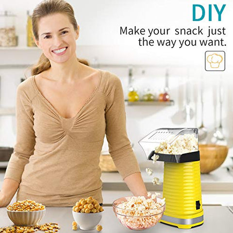 BETMONE Electric popcorn poppers Fast Hot Air Popcorn Popper With Top Cover,Electric Popcorn Maker Machine,Healthy & Delicious Snack For Family Gathering,Easy To Clean,ETL Certified,Safe