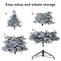 PabiPabi Prelit Frosted Christmas Tree 9ft Pre-lit Electric Tube 900LED Lights Flocked Snowy Everest Pine with Tree Top Star Tree Collar Gifted Berries and Pine Cones(New)