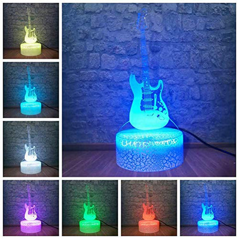 LOVESUN 3D Night Light 3D Nightlight Electric Guitar Modern 7 Color Change Optical Illusion Touch Table Desk Lamp Art Sculpture Home Decor for Men Gift