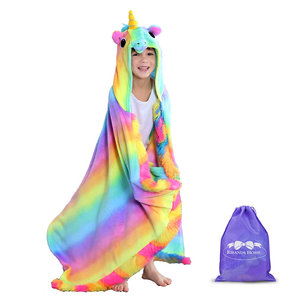 RIBANDS HOME Hooded Unicorn Blanket| Silky Soft Wearable Hoodie Blanket for Kids, Toddlers, Children| Animal Hoodie Cloak, Throw Blanket w/Horn & Mane| Rainbow & Stars Variations - Primitive Rainbow