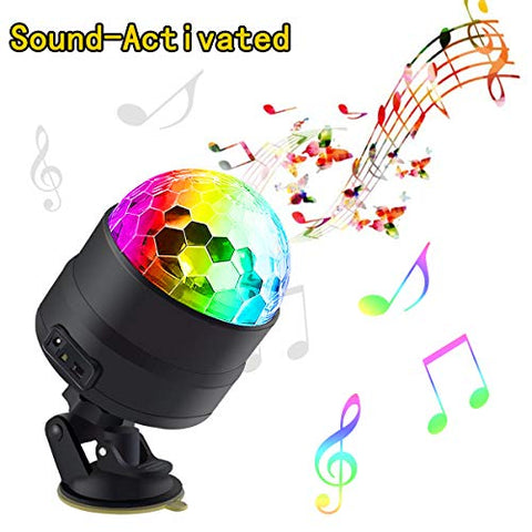 BETMONE Disco Ball Party Lights Portable Rotating Lights Sound Activated LED Strobe Light 7 Color with Remote and USB plug in for Car Home Room Parties Kids Birthday Dance Wedding Show Club Pub Xmas