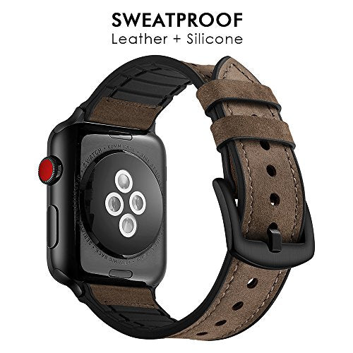 Hybrid Genuine Leather Band for Apple Watch - Dark Brown