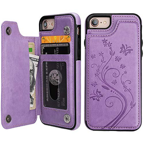 Caious iPhone 7 iPhone 8 iPhone SE 2020 Case Wallet with Card Holder, Embossed Butterfly Premium PU Leather Double Magnetic Buttons Flip Shockproof Protective Cover for iPhone 7/8/SE 2020 Case(Purple)